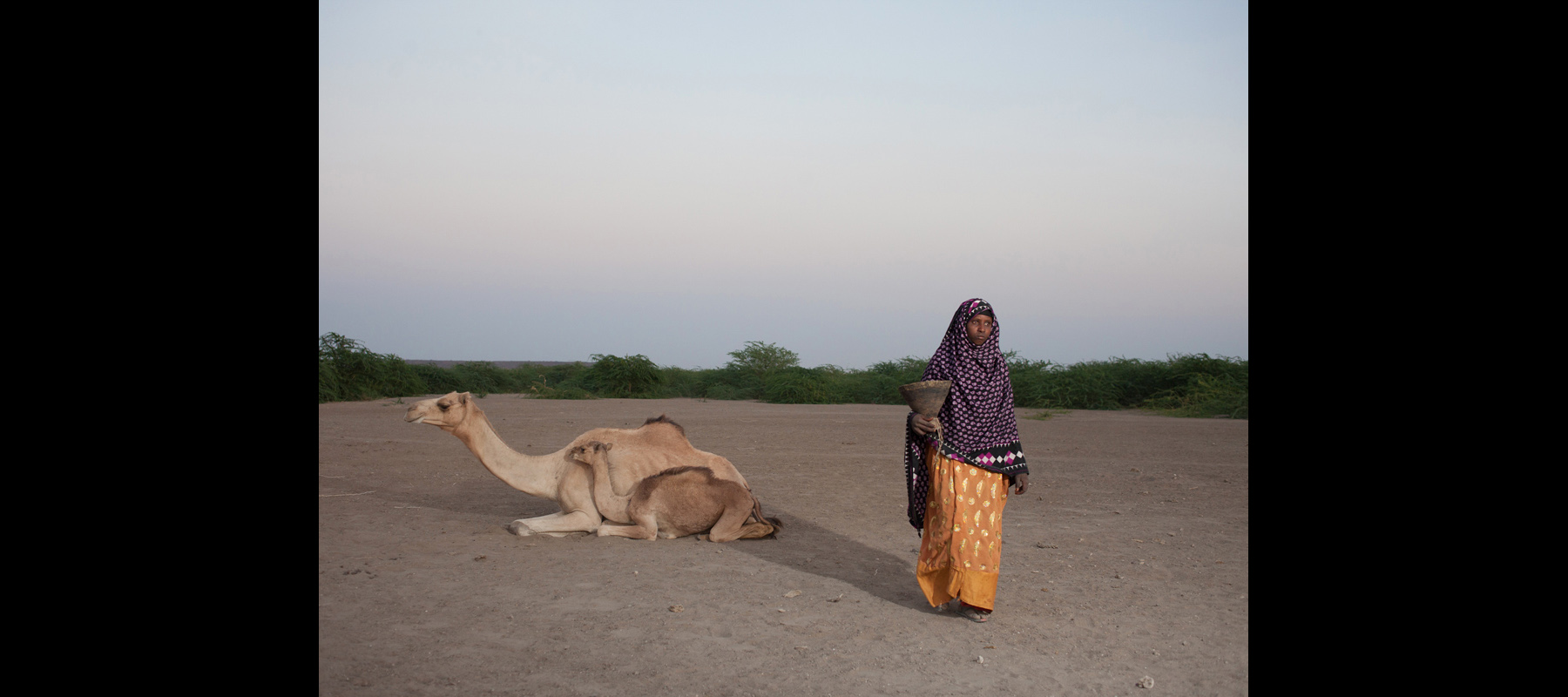 A woman carries one of the milk jugs used by her family to collect, store and drink camel milk.