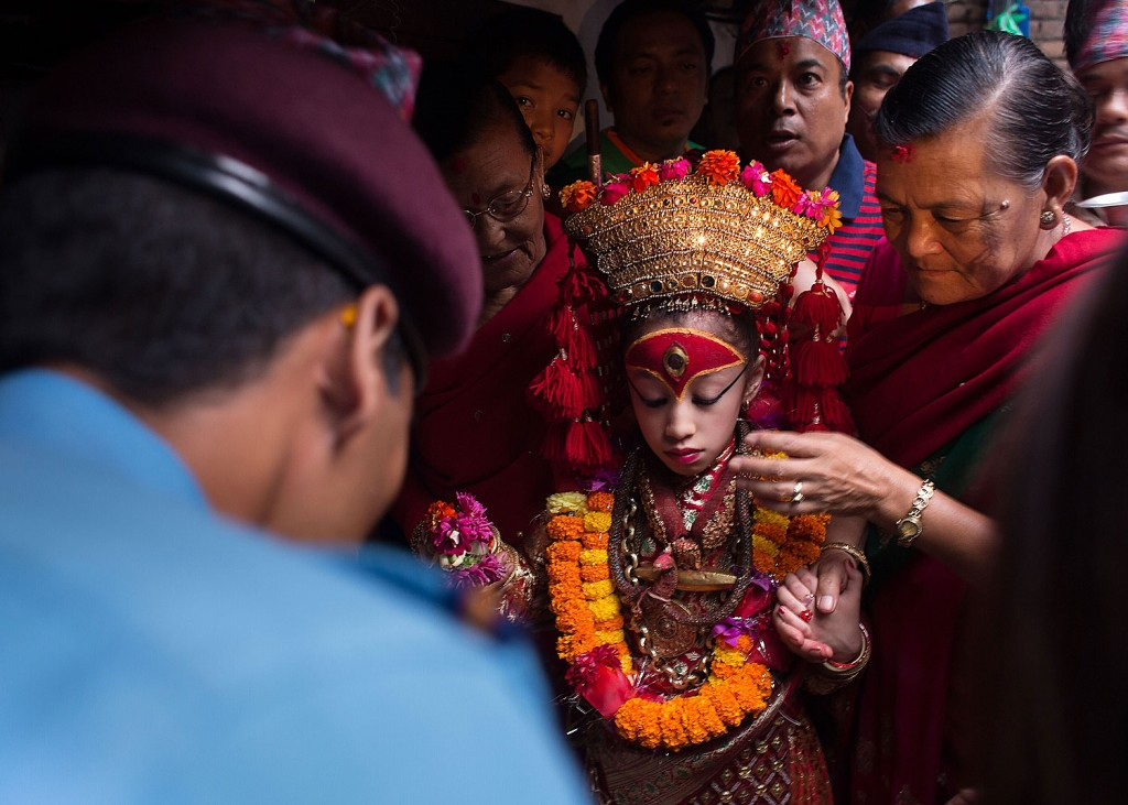 Kathmandu Royal Kumari Matina prepares to leave her palace for the Indrajatra festival.