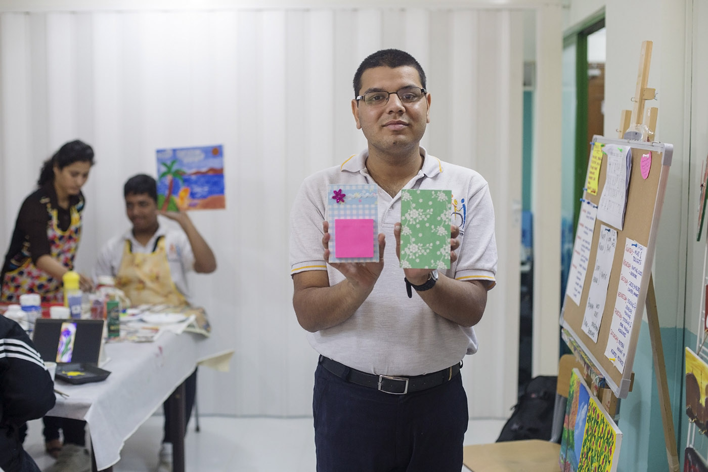 Portrait of a student with crafts